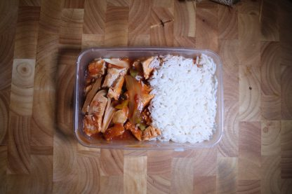 picture of honey lemon chicken and rice