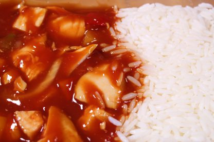 picture of sweet and sour chicken with rice