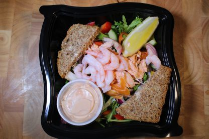 picture of salmon and prawn salad box