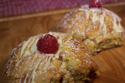 picture of raspberry and white chocolate scone